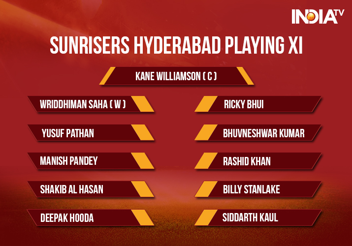 India Tv - Sunrisers Hyderabad Playing XI for the IPL 2018 Match 20