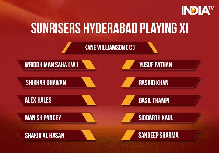 India Tv - SunrisersHyderabad Playing XI for IPL 2018 Match 28