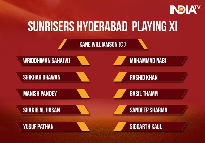 India Tv - SunrisersHyderabad Playing XI for the IPL 2018 Match 23
