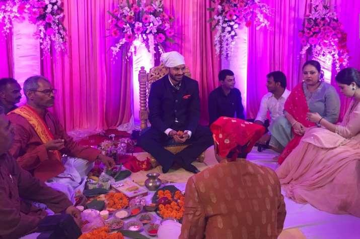 Tej Pratap Yadav during his engagement with Aishwarya Rai,