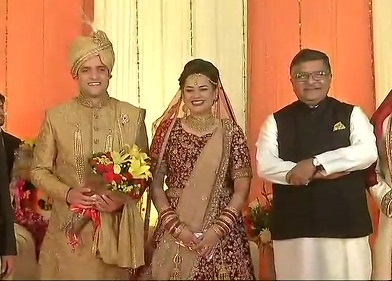 India Tv - Union Minister Ravi Shankar Prasad gave his hearty blessings to the couple at the wedding reception in Delhi. Earlier, the couple tied the knot in Kashmir.