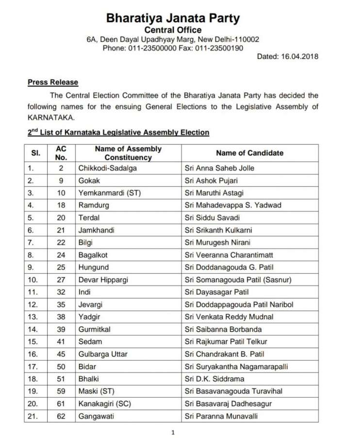 India Tv - Karnataka Assembly Elections 2018: BJP releases second list of 82 candidates 1/3