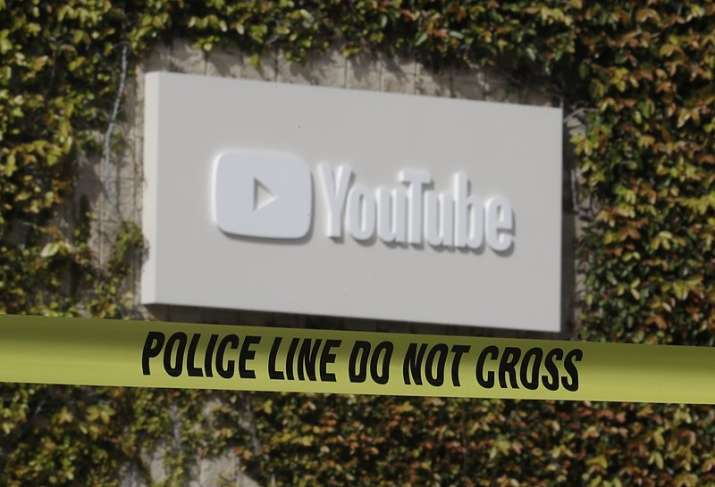 Police tape is shownoutside of a YouTube office building