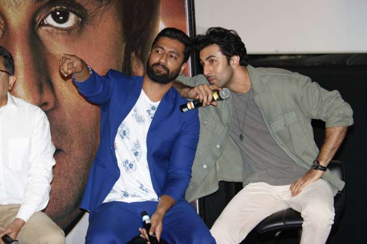 India Tv - Ranbir Kapoor and Vicky Kaushal at Sanju trailer launch