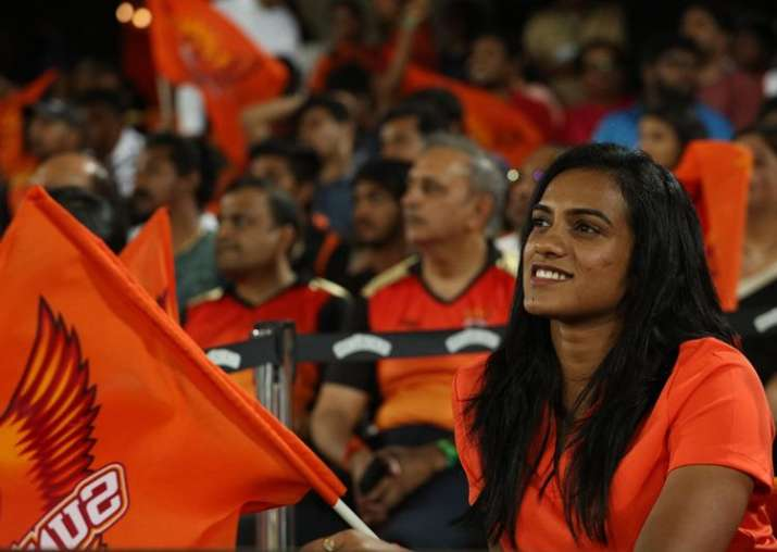 PV Sindhu cheering for SRH during an IPL 2018 match