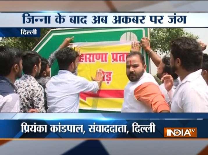 On Maharana Pratap Jayanti, Bajrang Dal workers 'rename'