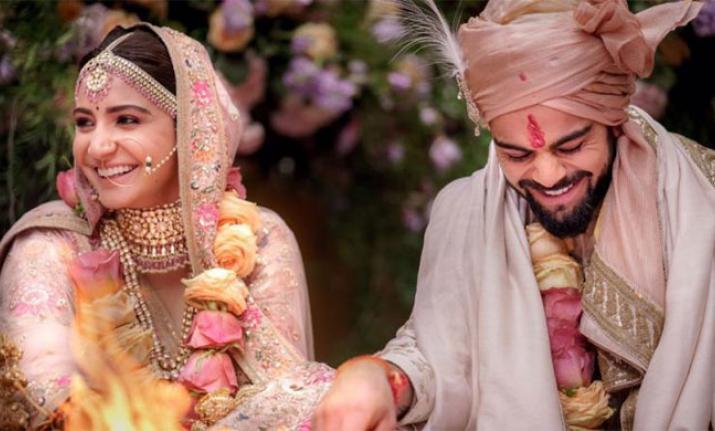 India Tv - Anushka Sharma and Virat Kohli at their wedding