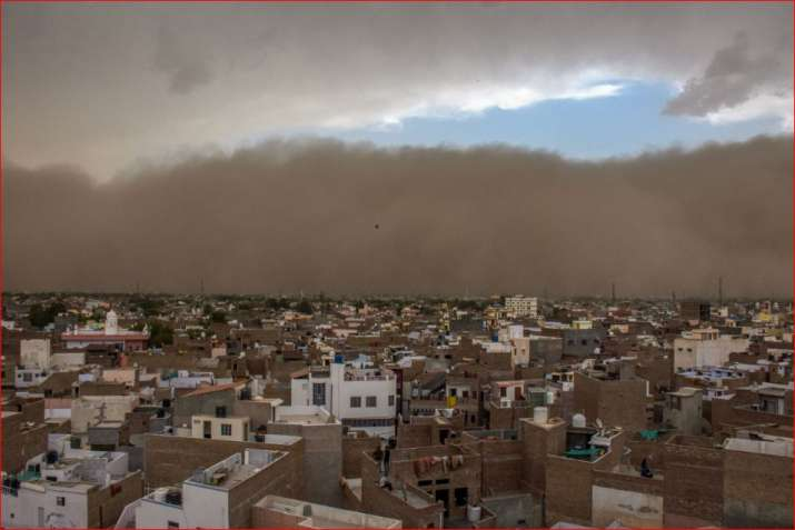 A dust storm approaches the city of Bikaner on Wednesday