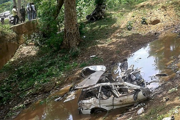 Mangled remains of the police vehicle which was blown up by Naxals