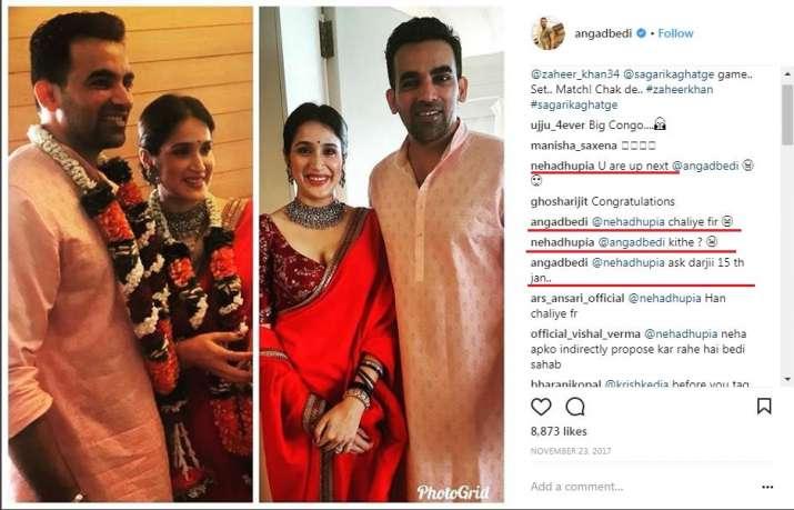 India Tv - Angad Bedi's congratulatory post for Sagarika and Zaheer.
