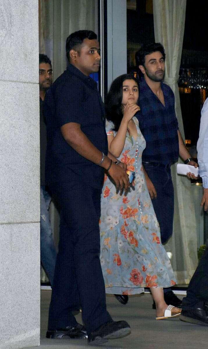 India Tv - Ranbir Kapoor and Alia Bhatt were spotted leaving a high-end restaurant in Mumbai