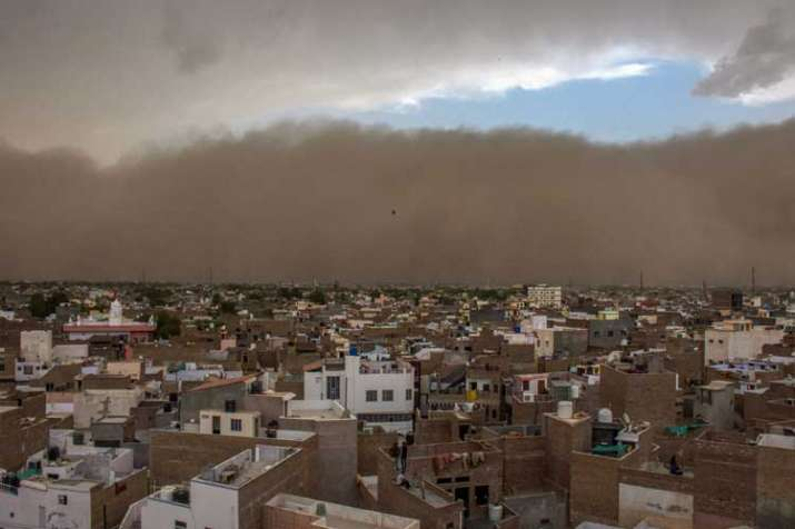 A dust storm approaches the city of Bikaner on Wednesday,