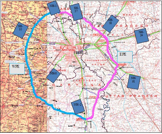 India Tv - The Eastern and the Western Peripheral Expressways were planned in 2006 following the apex court's order to build a ring road outside the national capital for channelling the traffic not bound for Delhi.