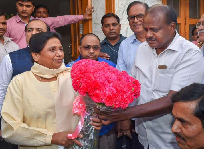 India Tv - Kumaraswamy, who will be sworn in as chief minister on Wednesday for the second time in 12 years, also met his pre-poll ally BSP chief Mayawati. BSP bagged one seat.