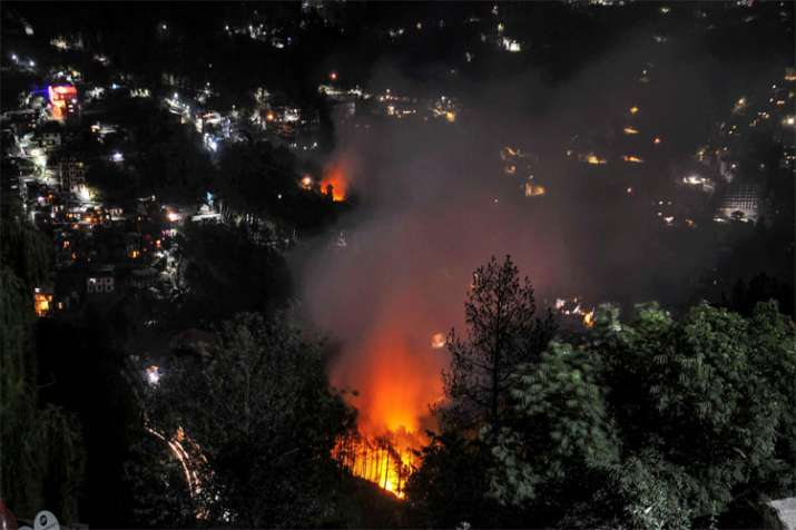 Shimla: A hillside glows with embers after a major fire broke out through a forest