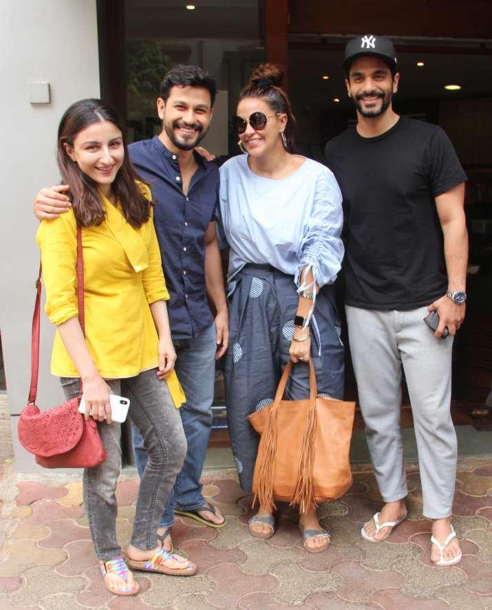India Tv - Neha Dhupia-Angad Bedi with Soha Ali Khan and Kunal Khemu
