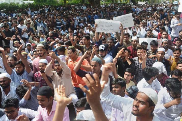 Aligarh Muslim University students stage a protest over