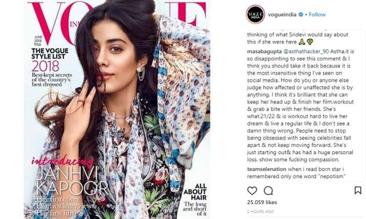 India Tv - Masaba Gupta reacts to trolls on Janhvi Kapoor