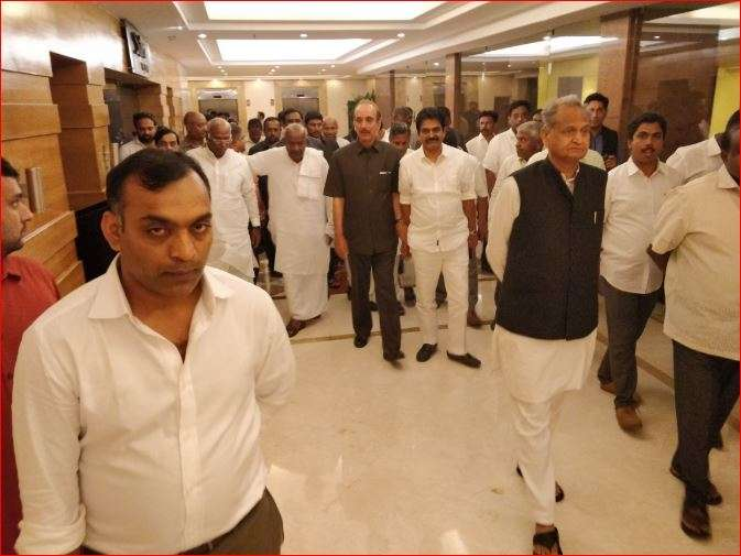 JD(S), Congress leaders coming out of Ashoka Hotel in