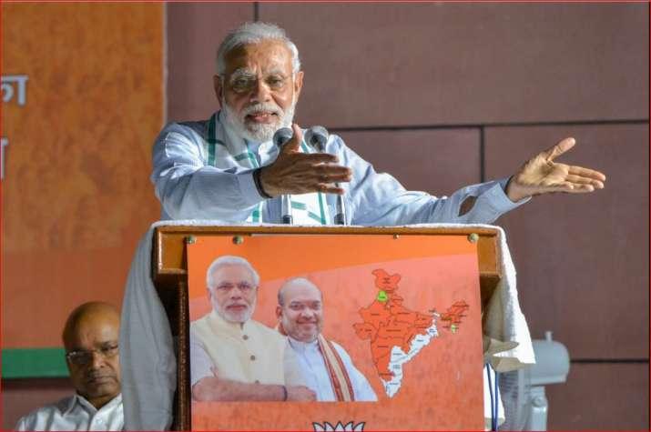Prime Minister Narendra Modi addresses BJP party workers