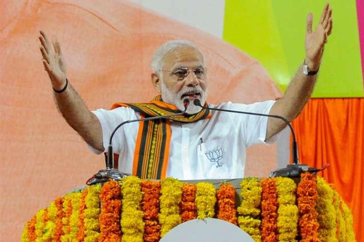 Prime Minister Narendra Modi addressing at an election