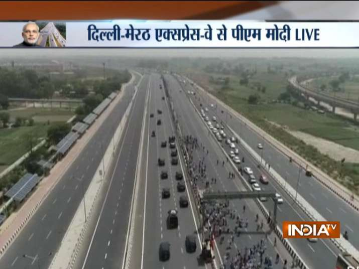 India Tv - PM Modi's roadshow on Delhi-Meerut Expressway