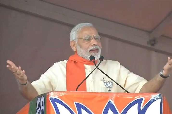 Prime Minister Narendra Modi addressing a rally in