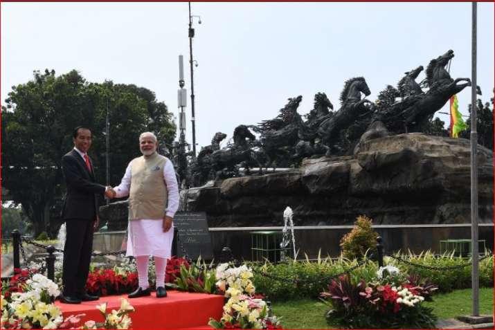 PM Modi with Indonesian President Joko Widodo near Arjuna