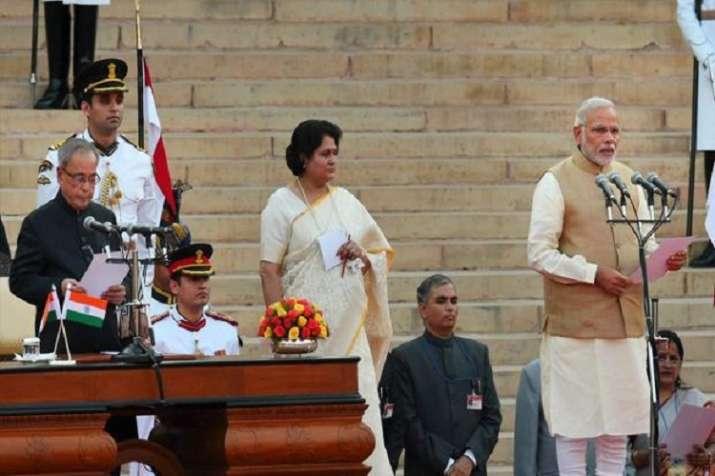India Tv - Narendra Modi taking oath as PM on May 26, 2014, (File Photo/PTI)