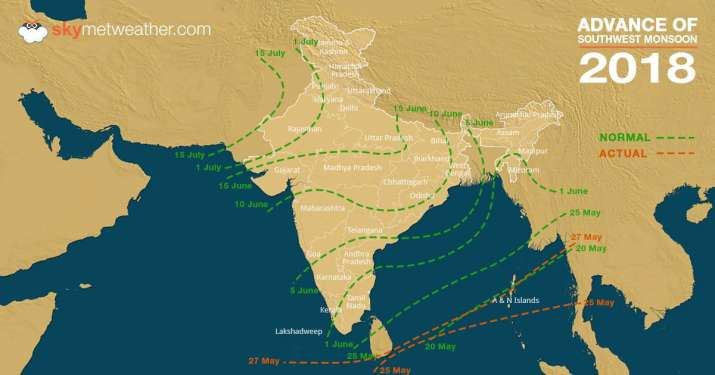 India Tv - Map for advancement of Monsoon in India for the current year