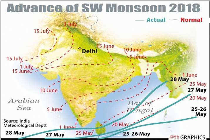 India Tv - Monsoon coverage path. (PTI Graphics)