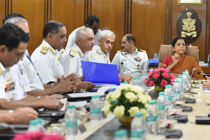 Defence Minister Nirmala Sitharaman at the Naval