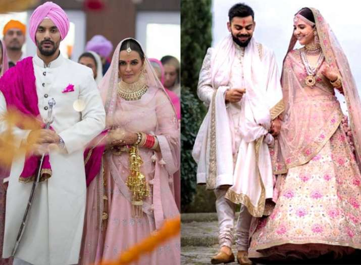 India Tv - Neha Dhupia ties the knot with best friend Angad Bedi in an intimate ceremony! See first pic