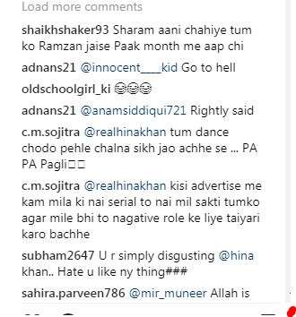 India Tv - Hate comments on Hina Khan's Instagram post.