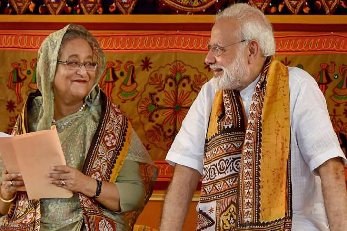 PM Modi speaks with his Bangladeshi counterpart Sheikh