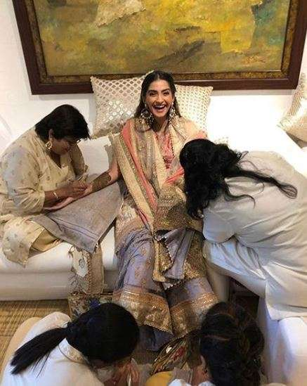 India Tv - Sonam Kapoor's pictures from mehendi ceremony