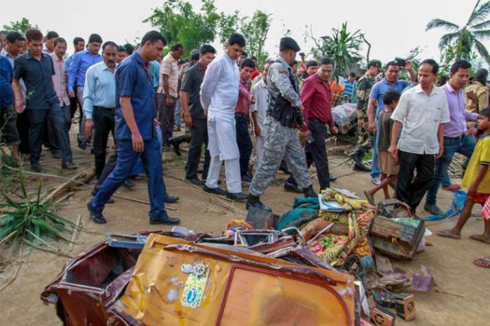 India Tv - Tripura Chief Minister Biplab Kumar Deb with officials visits the cyclone-affected areas, at Belchharra village at Khowai district of Tripura on Monday.