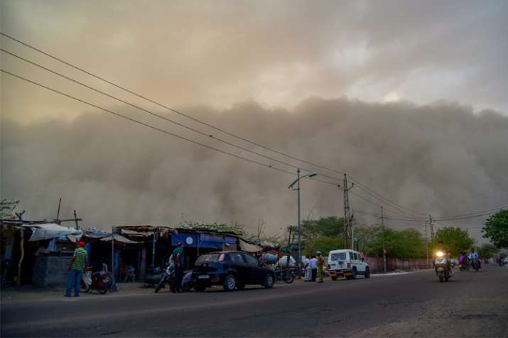 India Tv - A dust storm is seen building up over the city of Bikaner on Monday.