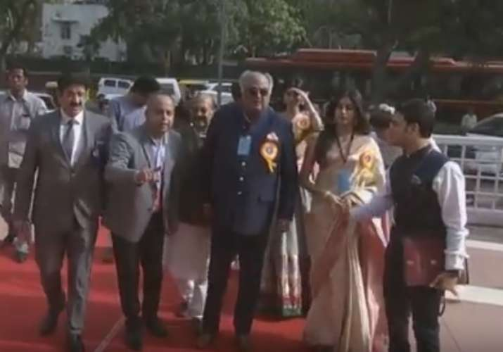 India Tv - Sridevi's family arrive at National Award ceremony.