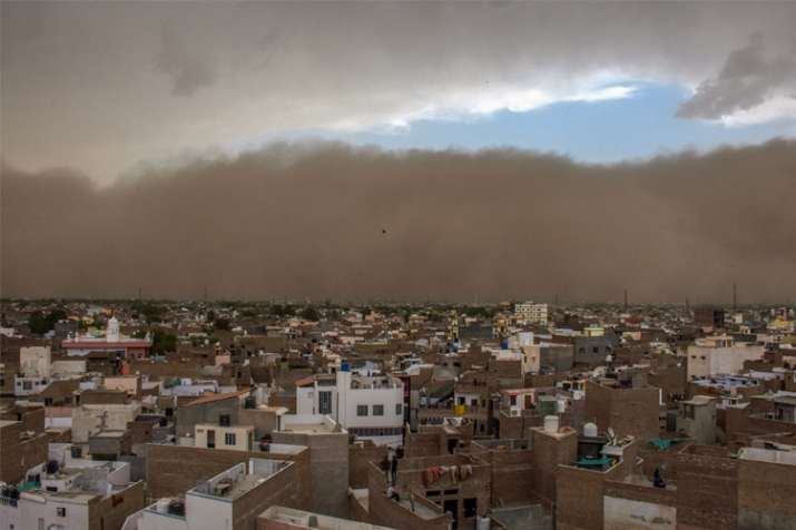 Bikaner: A dust storm approaches the city of Bikaner on