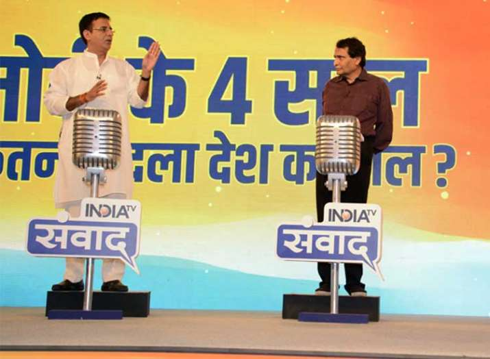 Randeep Surjewala with Suresh Prabhu at India TV Samvaad