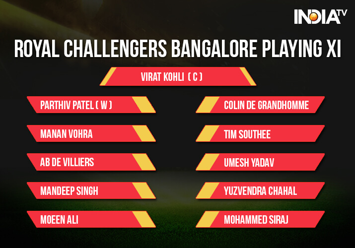 India Tv - Royal Challengers Bangalore Playing XI vs SRH