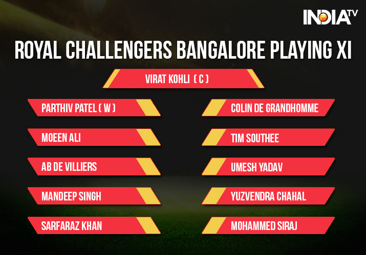 India Tv - Royal Challengers Bangalore Playing XI against Kings XI Punjab in Indore