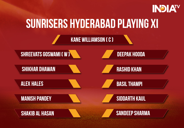 India Tv - Sunrisers Hyderabad Playing XI against Royal Challengers Bangalore in match no. 51