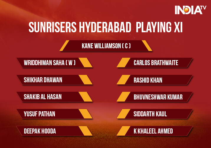 India Tv - Sunrisers Hyderabad playing xi against Kolkata Knight Riders in Qualifier 2
