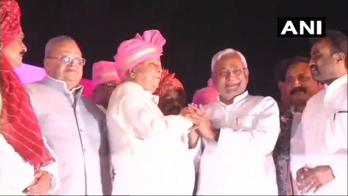 India Tv - Nitish Kumar, who has strained relations with the RJD chief's family ever since walked away from the Grand Alliance and returned to the BJP-led NDA, was greeted with loud cheers from the gathering.