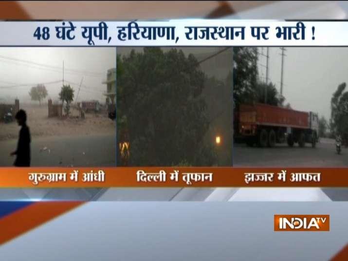 Thunderstorm alert in Delhi NCR live updates: Dust storm