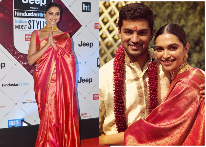 India Tv - Deepika Padukone repeated her sari from friend's wedding to HT Style Awards.