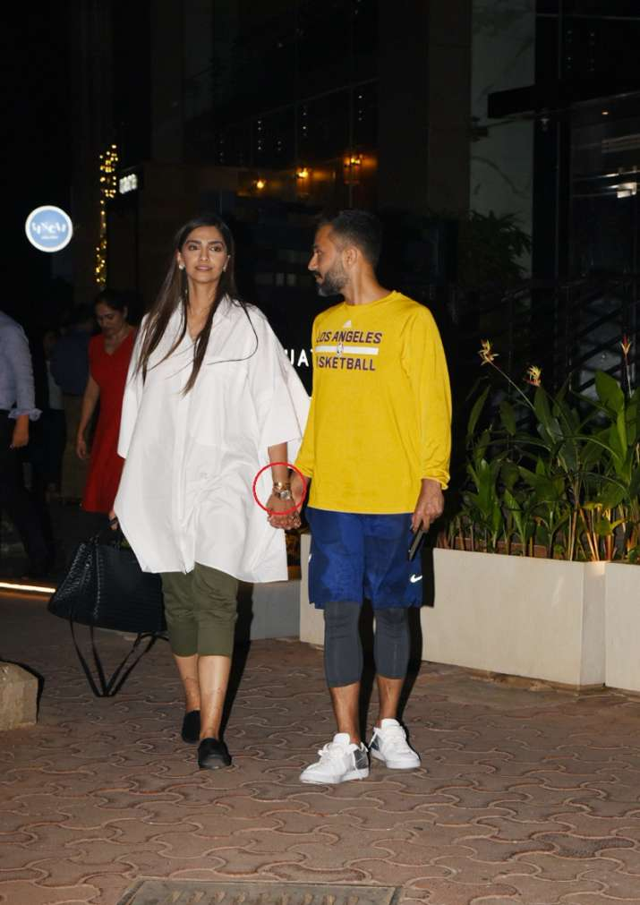 India Tv - Sonam spotted with husband Anand Ahuja on a date night.