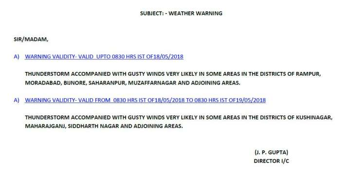 India Tv - Met office issues fresh warning of thunderstorm in UP